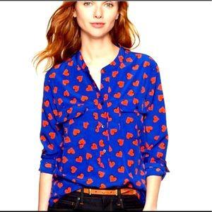 Gap Heart Royal Blue 2-Pocket Henley Blouse